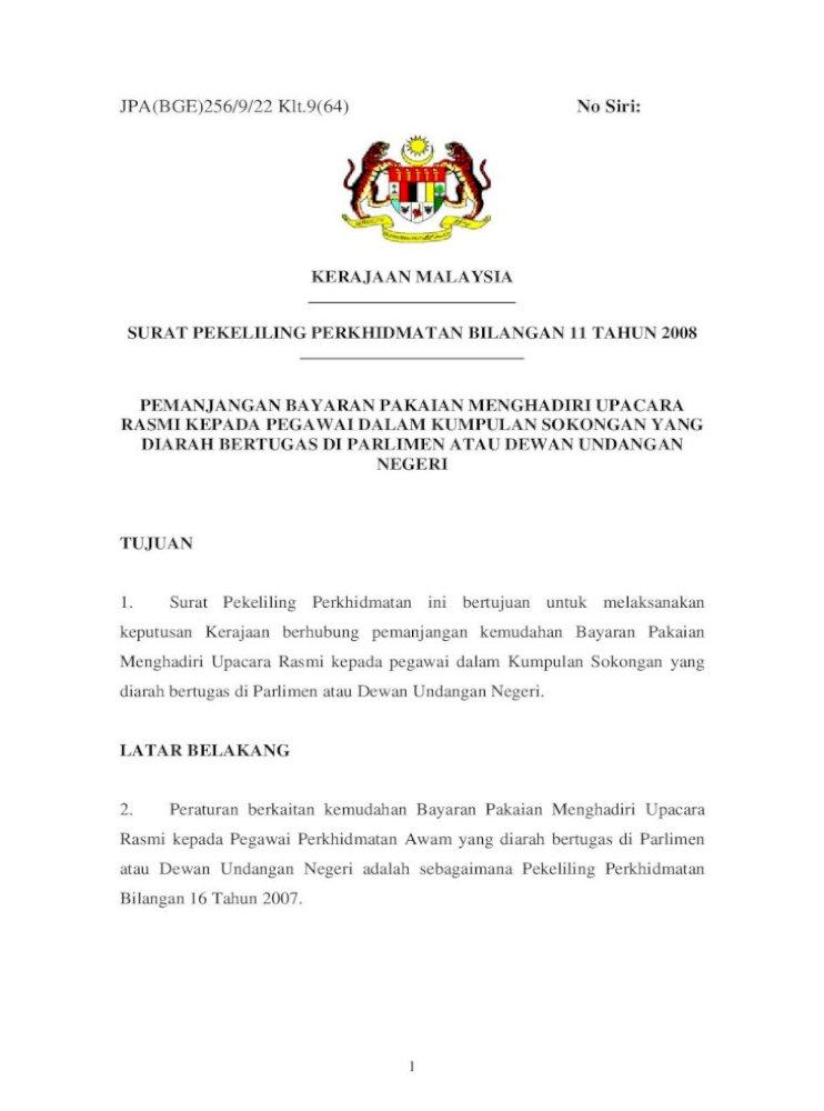 Surat Pekeliling Perkhidmatan Bilangan 11 Tahun 2008 Pdf Document