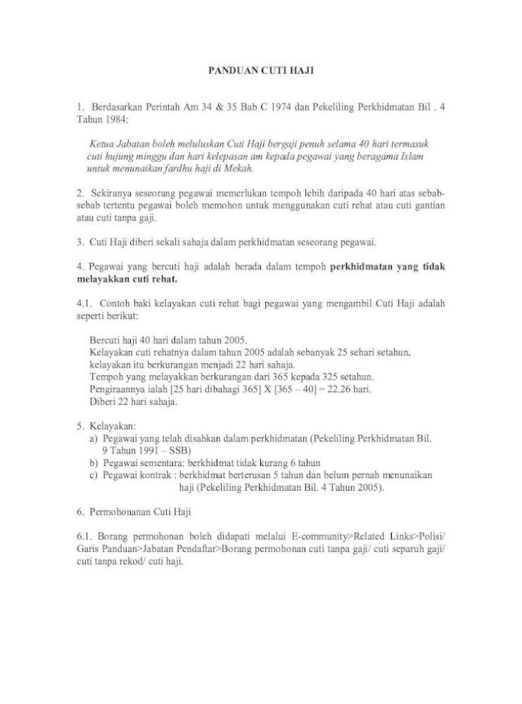 Panduan Cuti Haji 1 Berdasarkan Perintah Am 34 35 Bab C Pdf Document